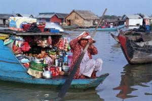 Vietnamese Merchant, Chong Kneas Village, Tonle Sap Lake, Cambod